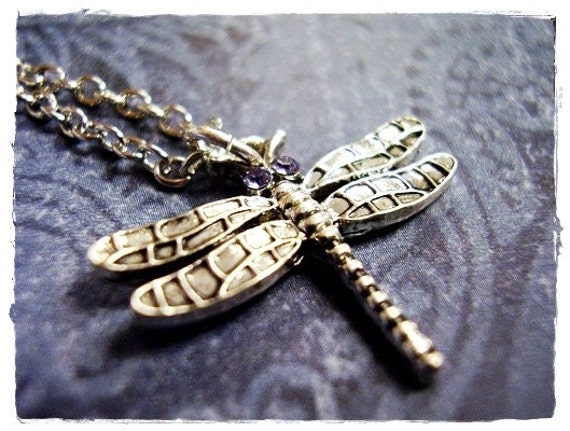 Silver Dragonfly Necklace - Silver Pewter Dragonfly Charm on a Delicate Silver Plated Cable Chain or Charm Only