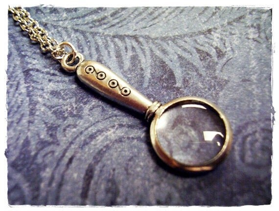 Silver Magnifying Glass Necklace - Antique Pewter Magnifying Glass Charm on a Delicate Silver Plated Cable Chain or Charm Only