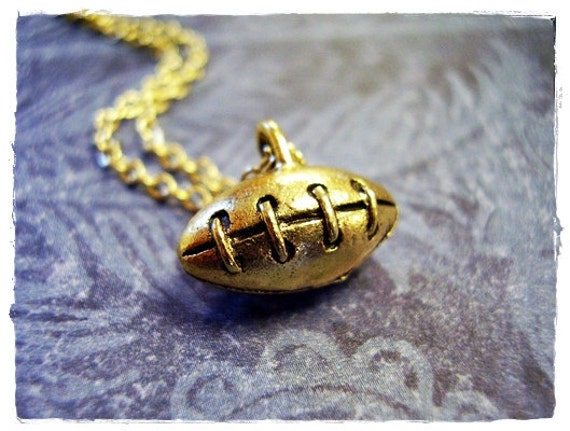 Tiny Football Charm Necklace in Antique Gold Pewter with a Delicate 18 Inch Gold Plated Cable Chain