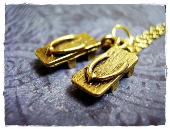Tiny Geta Wooden Shoes Charm Necklace in Antique Gold Pewter with a Delicate 18 Inch Gold Plated Cable Chain