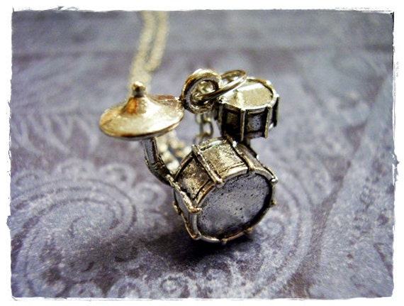 Silver Drum Set Necklace - Silver Pewter Drum Set Charm on a Delicate Silver Plated Cable Chain or Charm Only