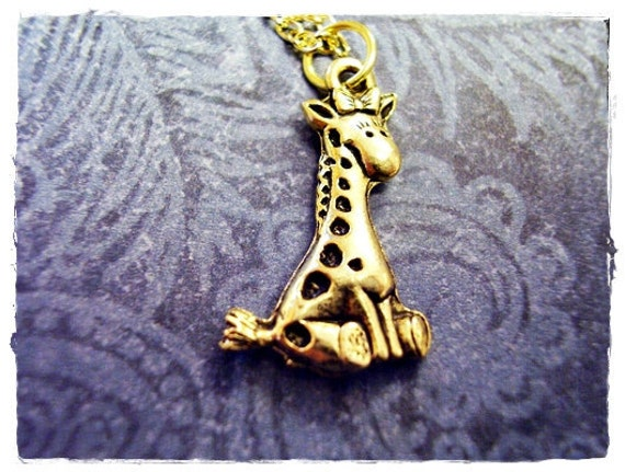 Gold Baby Giraffe Necklace - Antique Gold Pewter Baby Giraffe Charm on a Delicate Gold Plated Cable Chain or Charm Only