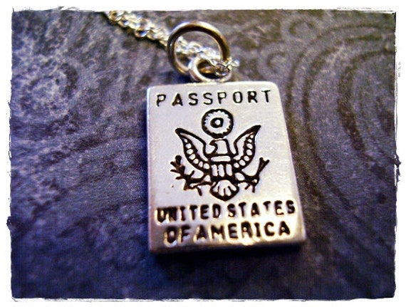 Silver USA Passport Necklace - Sterling Silver USA Passport Charm on a Delicate Sterling Silver Cable Chain or Charm Only