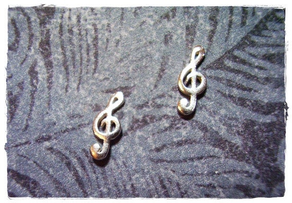 Tiny Treble Clef Post Earrings in Sterling Silver