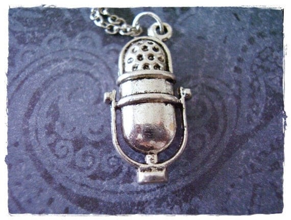 Silver Microphone Necklace - Antique Pewter Microphone Charm on a Delicate Silver Plated Cable Chain or Charm Only