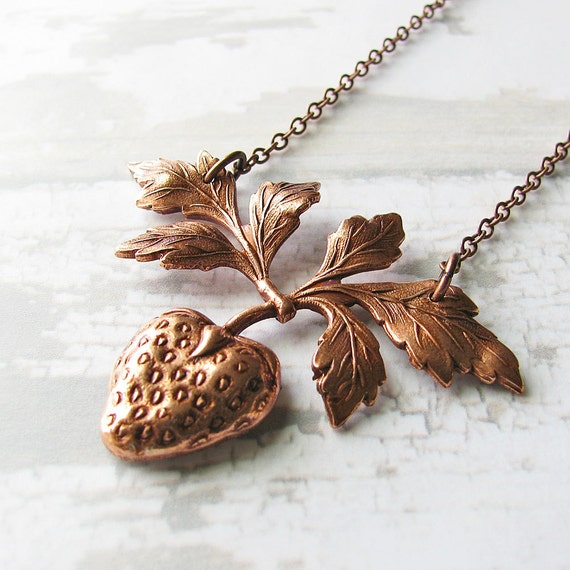 Strawberry Necklace, Antiqued Copper Charm - Fruit Necklace, Fruit Jewelry, Fashion Jewelry