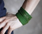 Green Leather Cuff Bracelet