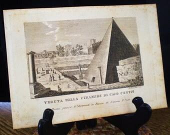 Veduta Della Piramide de Cajo Cestio, Beautiful Rome - antique book plate print