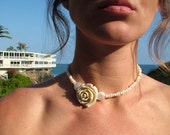 Rose & fresh water pearl choker. WEDDINGS, BRIDES and parties. vintage, classic statement piece
