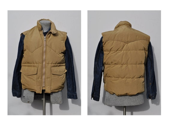 vintage puffy down vest mens large outdoor wear hunting