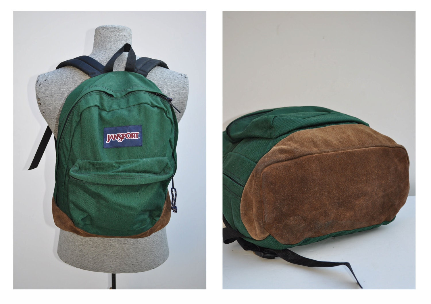 vintage backpack with leather bottom JANSPORT carry on daypack