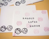 set of 5 Harold and Maude note cards with envelopes
