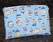 9 inch Zipper pouch - Kindle Case, Birds in Bird Cage