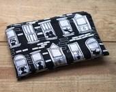 Large Zipper pouch - Kindle Case, City Block, Apartment Windows Black and white