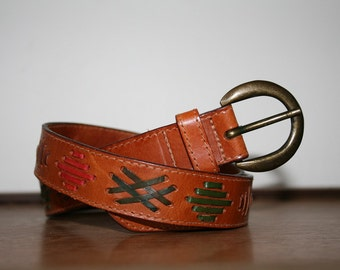 Vintage Leather Belt Multi Colored Cross Stitch Leather Belt
