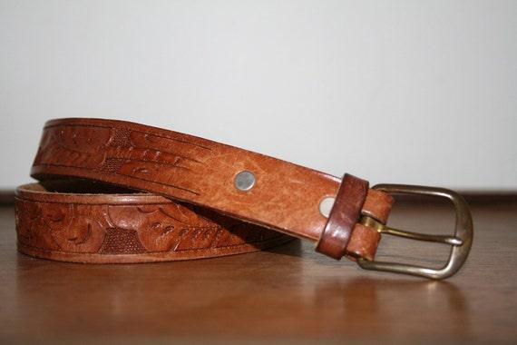 Vintage Tooled Leather Belt No.1