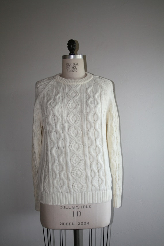 Vintage 1950s Off White Cable Knit Sweater