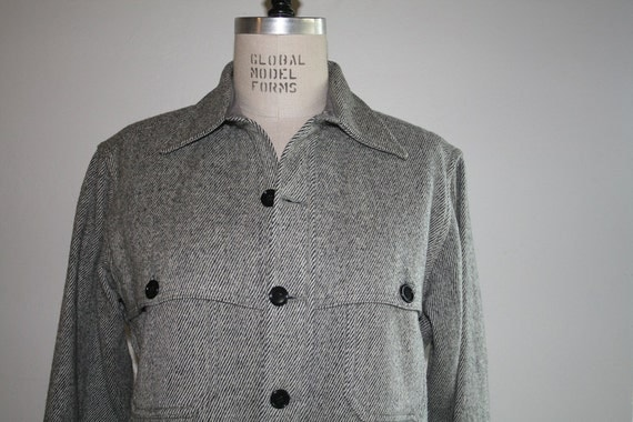 Vintage Wool Coat / Houndstooth Eddie Bower Wool Jacket / Mens / Outerwear / Large