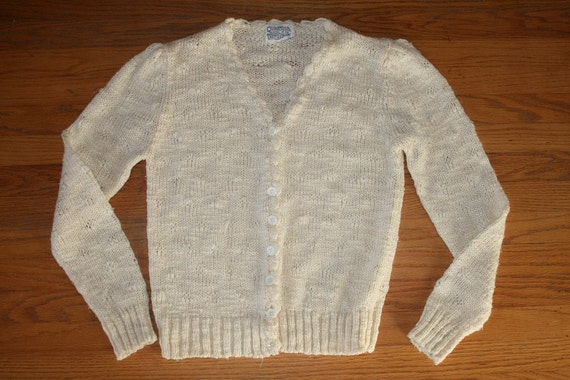Vintage Scalloped Space Knit Cardigan
