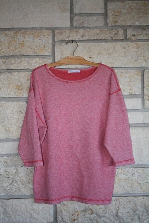 VTG Red and White Striped FRENCH Designer Jersey Pullover Shirt