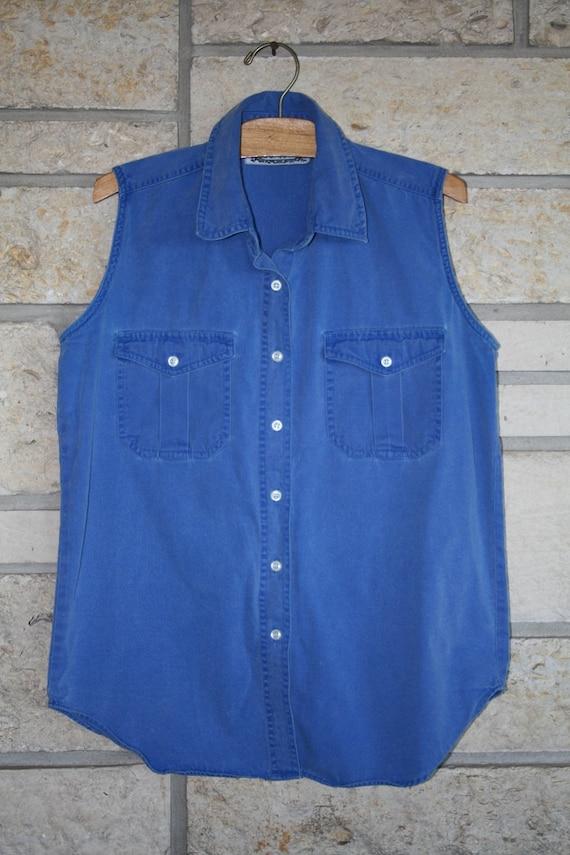 VTG / 80s 90s / Vintage Indie Sleeveless Blue Chambray / Cotton Cobalt Tanktop / Medium