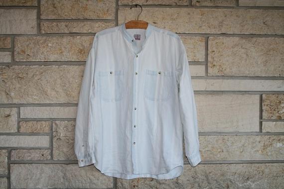 Vintage 90s Cotton CACTUS Southwestern Shirt / Light Blue Chambray Shirt