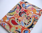 Fabric Covered Composition Notebook - Red Paisley