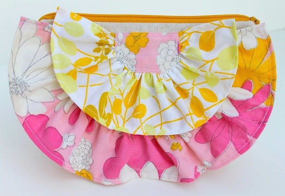 Vintage Ruffle Zippered Clutch - Mod Pink and Yellow Flowers