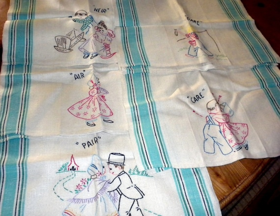 5 Vintage Linen Embroidered Kitchen Towels