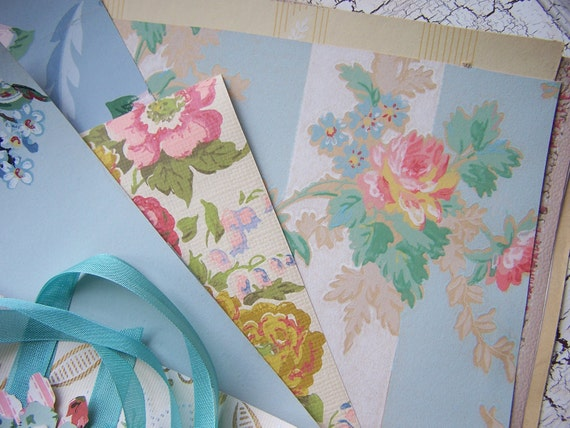 Vintage Wallpaper pack 8 x 10 sheets ROSES PINKS aqua seam binding paper flower ATC card mixed media papers scrapbooking