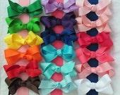 3 Pack- Hair Bows- Medium Solid Grosgrain Ribbon Bows
