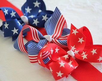 Patriotic Large Grosgrain Hair Bow
