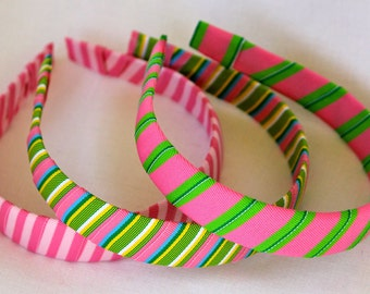 Headband- Preppy Stripe Grosgrain Ribbon Headband