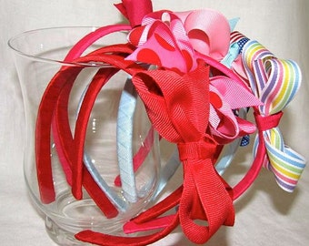 Headband- Grosgrain Ribbon Bow and Band- Choose Your Own Colors