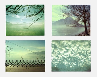 Printable art Digital download photos Set of 4 Home decor turquoise blue aqua mint green landscape photography
