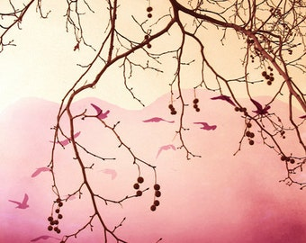 Digital download Surreal photography Pink wall art Romantic photo landscape tree branches Cottage chic