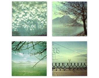 Set of four Downloadable digital file home decor turquoise blue aqua mint green landscape photography