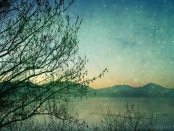 Download photo Deep teal Starry night Summer photography landscape photograph stars kids childrens room wall art