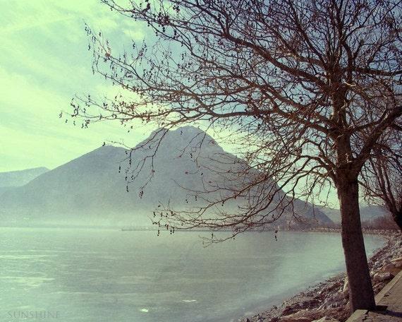 Digital download Landscape photography Lake photo Tree art mint green printable art