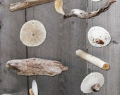Beautifully Designed Driftwood, Sand Dollar & Seashell Wind Chime/Mobile