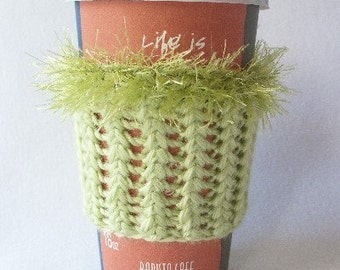 Crochet Coffee Cup Cozy Sleeve Apple Green with Eyelash yarn Trim