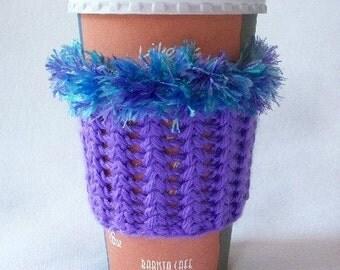 Crochet Coffee Cup Cozy Sleeve Bright Purple with a Variegated Boa Eyelash yarn Trim