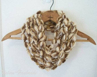 Crocheted Womens Loop d Loop Bobble Scarf Neckwarmer Necklace Chocolate Brown and Off White
