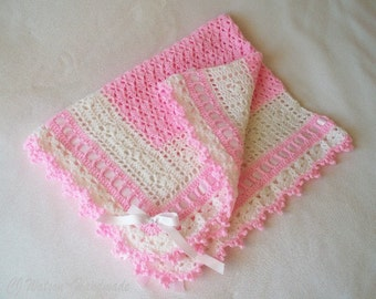 Crochet Baby Blanket Girl Afghan Cotton Candy Pink and White with Pink Satin Ribbon