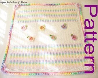 PDF Pattern Rainbow Garden Crochet Baby Girl Blanket Afghan with Pretty Flowers