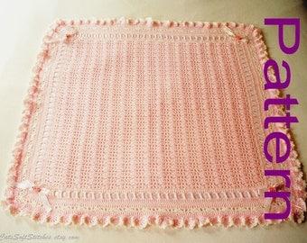 Crocheted Baby Blanket PDF Pattern Ruffles and Roses Baby Girl Blanket Afghan Original Design