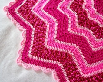Crocheted 12-Pointed Star Blanket Lap Afghan Raspberry and Pink Toddler Naptime Blanket