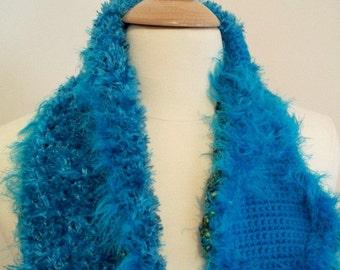 Crocheted Scarf Neckwarmer Womens Diamond Feather Boa Eyelash Yarn Scarf in Turquoise