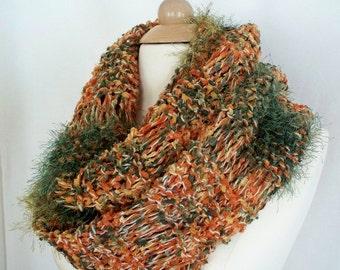Knitted Scarf Extra Long Womens Dropped Stitch Burnt Orange Green and Gold Eyelash Yarn Original Design