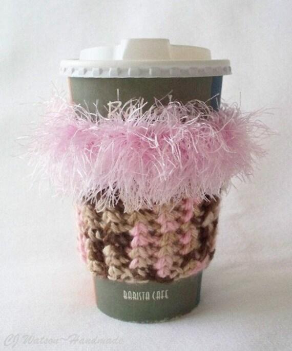 Crochet Coffee Cup Cozy Sleeve Pink Brown and Beige with Eyelash yarn Trim